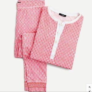 J Crew Dreamy Henley Pajama Set Block Print, NWT